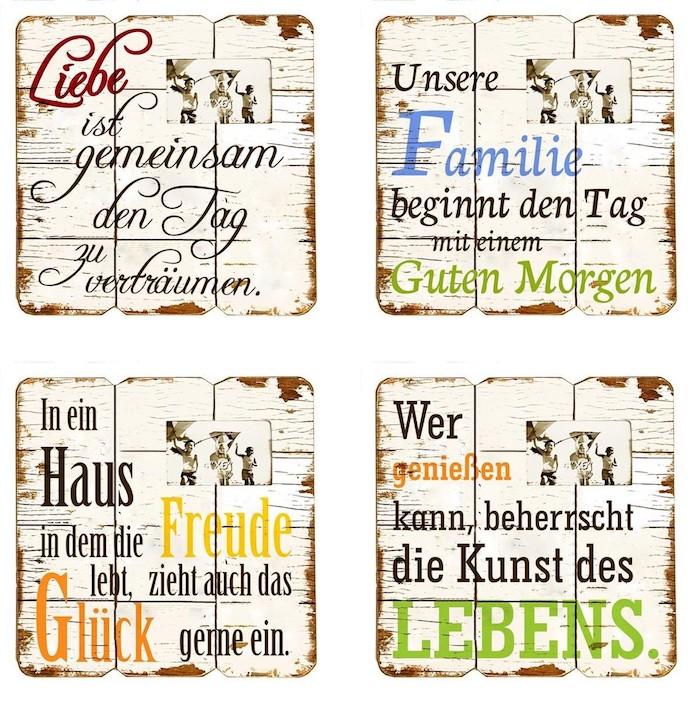 vier Holzschilder mit veraltetem Look, gestrichen in Weiß mit unterschiedlichen Umzugssprüchen, aufgeschrieben mit bunten Buchstaben, Fotocollage aus vier Bildern auf weißem Hintergrund, Musterrahmen in einem Fotostudio wählen