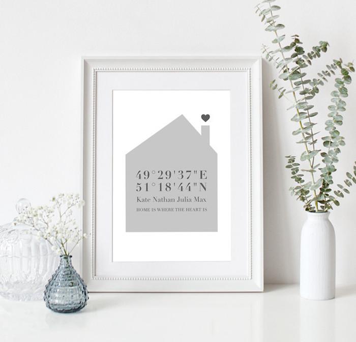 Wandbild mit einem grauen Haus mit Schornstein, das die geographischen Koordinaten eines Ortes aufgeschrieben hat, ein schwarzes Herz, weiße Vase mit frischen grünen Zweigen, runde Vase aus blauem Glas mit weißen Blumen, dekorativer Behälter aus Glas, weiß gestaltete Wohnung