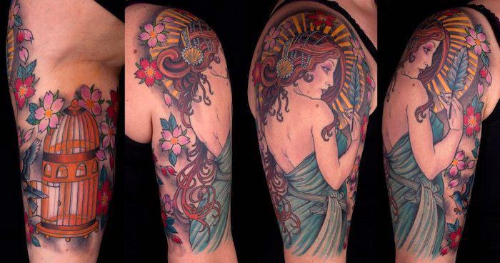 tattoo kirschblüten, tätowierung am oberarm, grau mit kleid in griechischen stil in kombination mit goldenem vogelkäfig