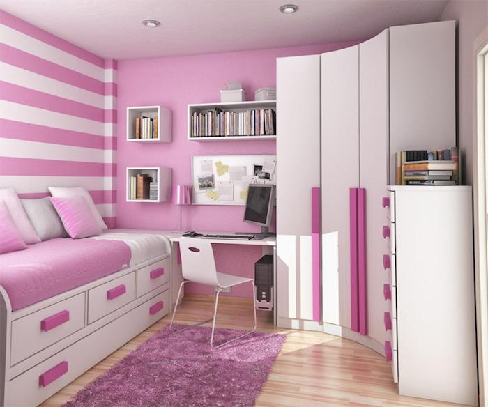 rosa Wände, gestreifte Wände, gerundeter Schrank Jugendzimmer für Mädchen - schöne Zimmer