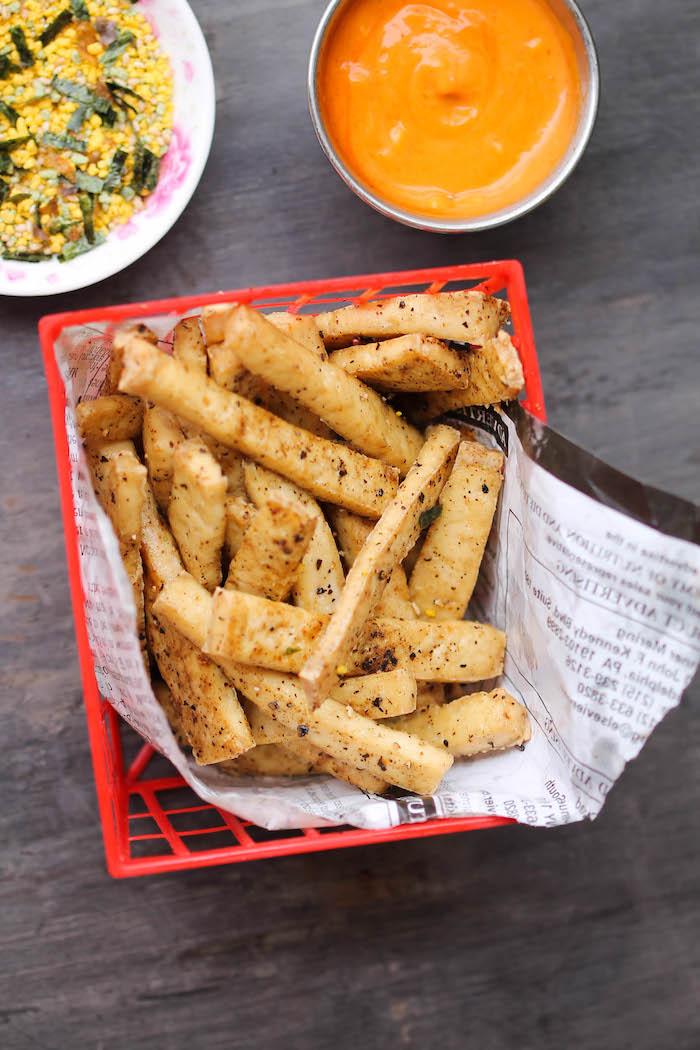 seidentofu rezept tofu anstelle von pommes frittes orange soße speise korb fast food gesund lecker