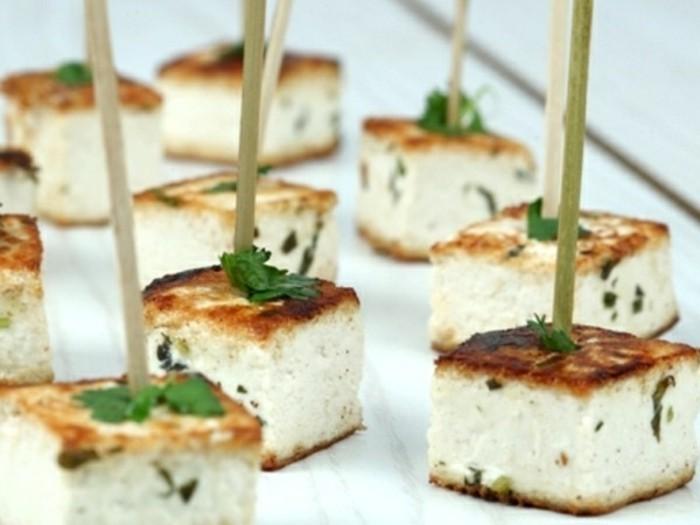 rezept seidentofu partygrillen party essen servieren tofu stücke petersilie vorspeise servieren