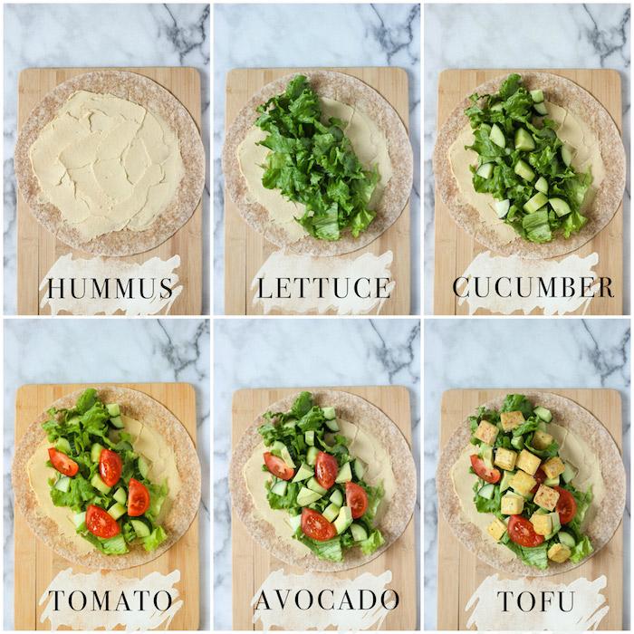 tofu einlegen einzigartige tofu rezepte tofu-wraps in 6 schritte hummus grünsalat gurken tomaten avocado tofu