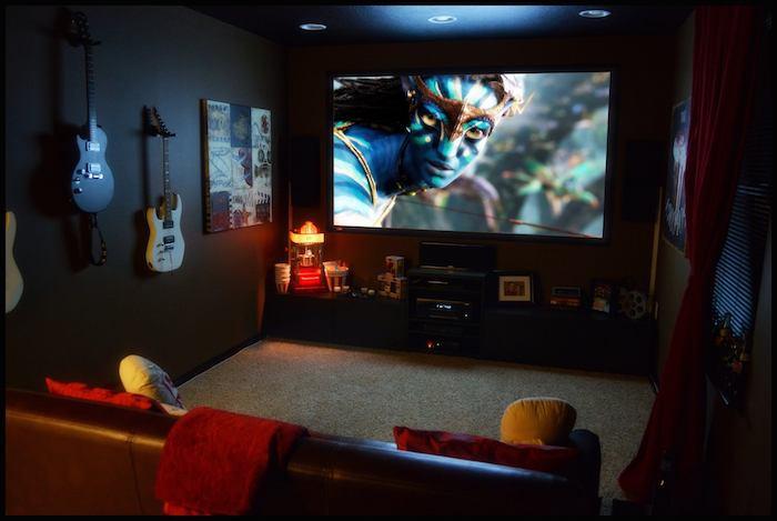 moderne wohnwand dunkles zimmer heimkino kinosalon zu hause kono abend in den eigenen vier wände veranstalten