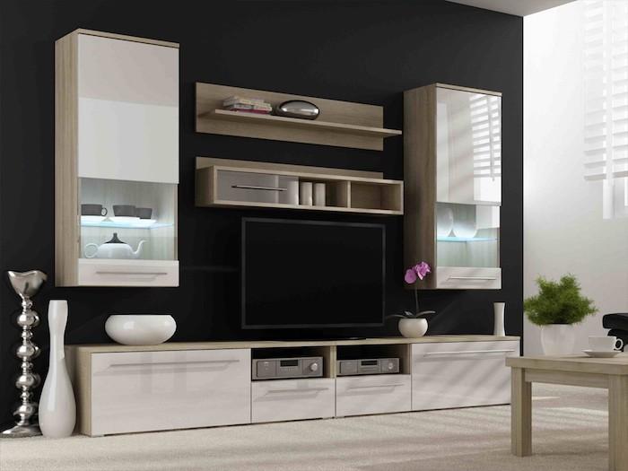 tv wandpaneel schwarze wand und schwarzer fernseher schubladen schränke in beige akzent auf der farbe und auf designs vasen dekorationen an der wohnung