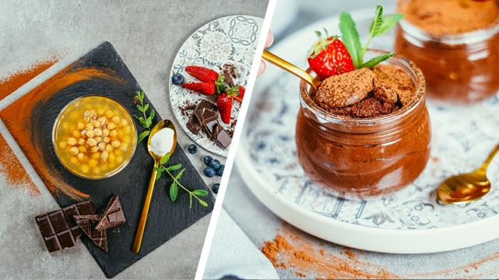 vegane schokolade, einfaches rezept mit aquafaba, schokoladenmousse mit erdbeeren