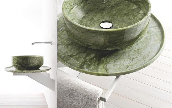runder Badezimmer-Waschbecken aus grünem Marmor, elegantes und einfaches Design, Badezimmer mit Holzboden