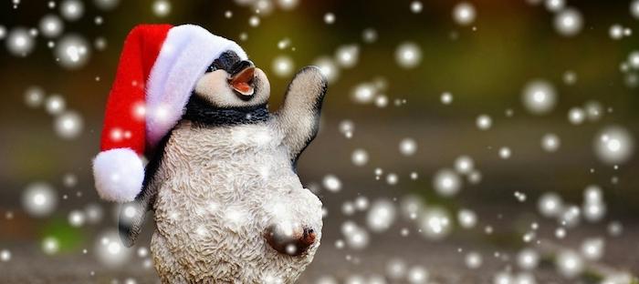 ein Pinguin mit Weihnachtsmütze genießt den Schnee mit Lächeln - Weihnachtsfotos