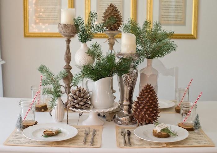 weihnachts deko natur ideen zum selbermachen weihnachtliche dekorationen zapfen kerze grüne zweige strohhalm