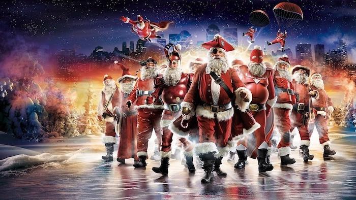 Lustige Weihnachtsgrüße - eine Gruppe von Weihnachtsmännern wie die Avengers