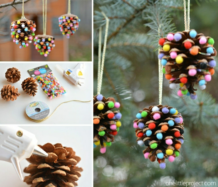 Weihnachtsschmuck aus Zapfen selber machen, bunte Pompons mithilfe Heißklebepistole befestigen