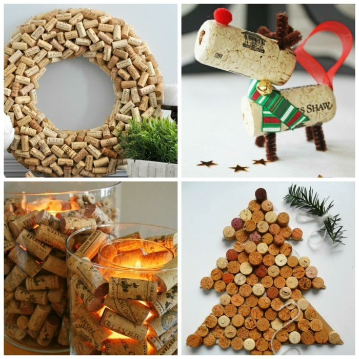 Weihnachtsdekoration aus Korken basteln, Weihnachtskranz, Renter und Christbaum selbst gemacht