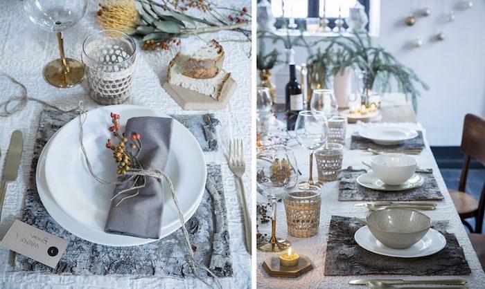 dekoration weihnachten tisch dekorieren und schön gestalten graue serviette kerze zweige dekoideen