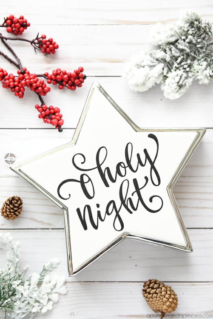 Weißer Stern, Heilige Nacht, Mistel und Zapfen, Tannenzweige mit Schnee bedeckt, schönes Weihnachtsbild
