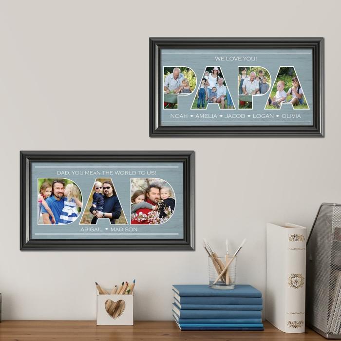 Fotocollage zu Weihnachten schenken, personalisierte Geschenke für Vater und Opa, originelle Idee zum Inspirieren
