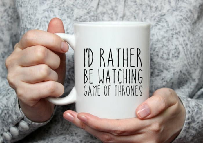 Cooles Weihnachtsgeschenk für Game of Thrones Fans, weiße Teetasse, Geschenkideen für jeden Geschmack