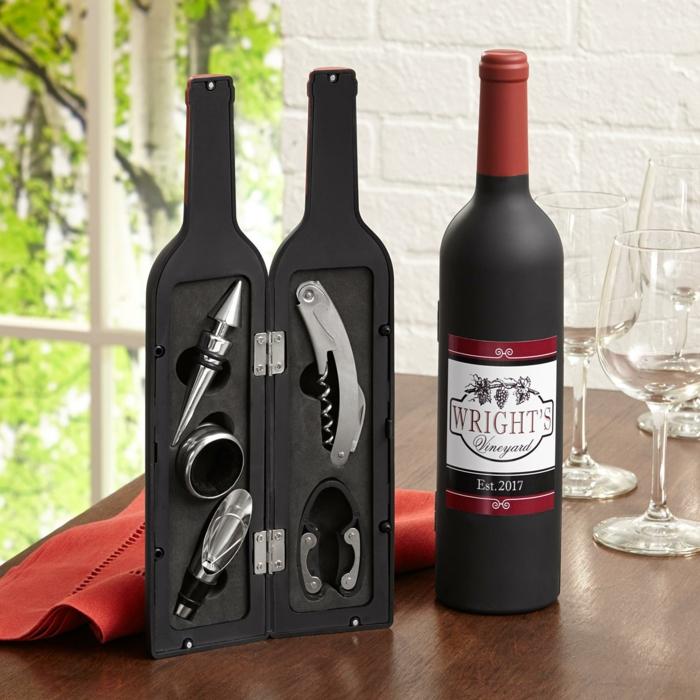 Taschenmesser-Set in Weinflasche, originelles Weihnachtsgeschenk für Mann, Geschenkideen für jeden Geschmack
