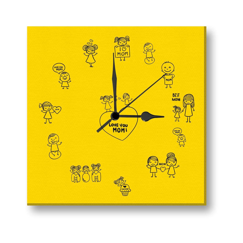 eine gelbe Uhr mit kleinen Bildchen und vielmals gesagt - Ich liebe dich, Mutti - Weihnachtsgeschenk Mutter