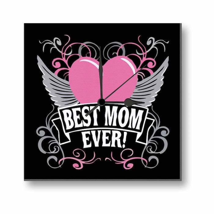 eine Uhr mit einem rosa Herz mit Flügel - die beste Mutter aller Zeiten - Geschenkideen Eltern Weihnachten