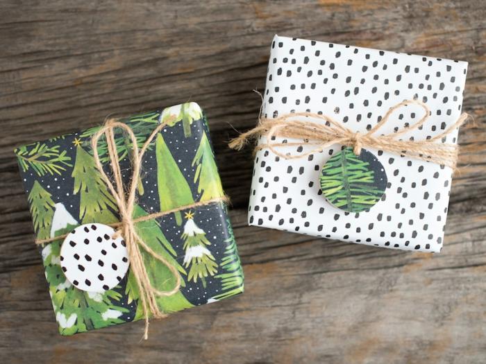 Weihnachtsgeschenke schön verpacken, Christbaumkugeln aus Papier mit Faden befestigen