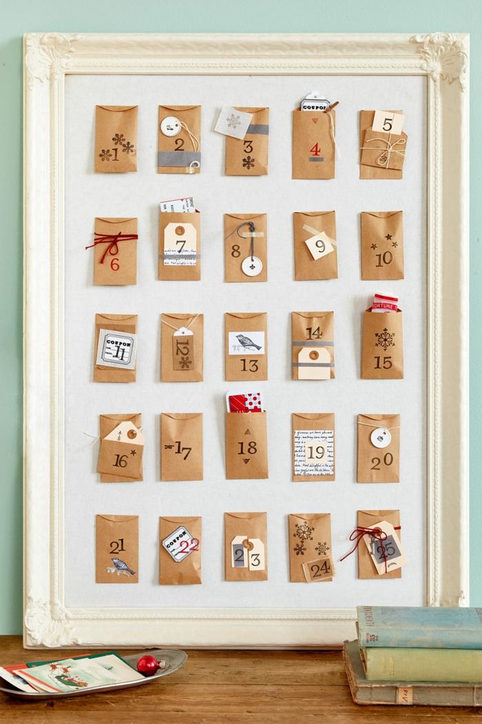Adventskalender in Rahmen, tolle Idee für Weihnachtsgeschenk und auch für Dekoration, Weihnachtsbasteln