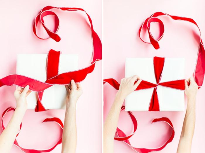 Weihnachtsgeschenke selbst verpacken, Schleife binden, Schritt für Schritt Anleitung