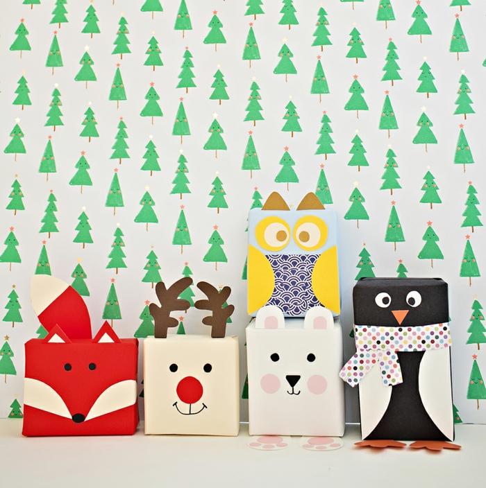 Weihnachtsgeschenke kreativ verpacken, Verpackungen als Tiere, Kindern Freude bereiten