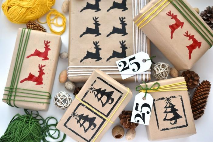Weihnachtsgeschenke selbst verpacken, schöne Ideen zum Nachmachen, Zapfen und Garn