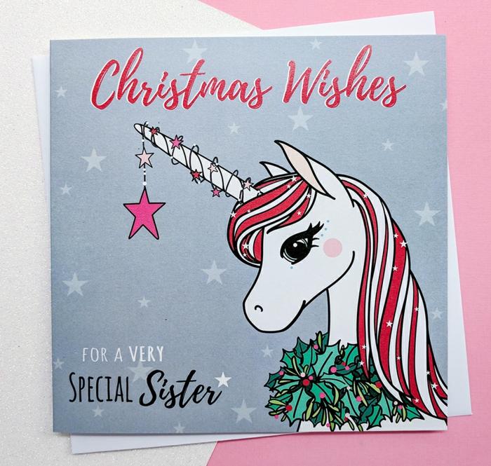 Süße Weihnachtskarte mit Einhorn, Glückwünsche zu Weihnachten, Grußkarte für Schwester