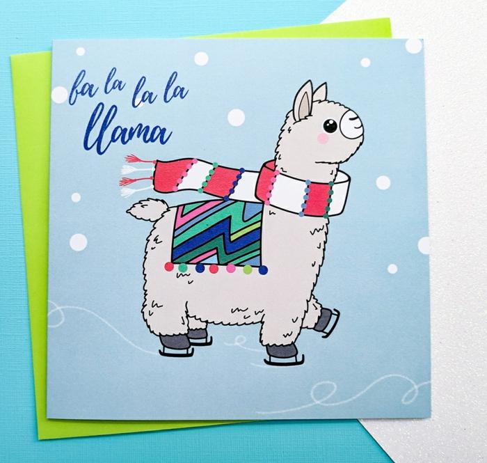Süße Weihnachtskarte per Hand gezeichnet, Lama mit Schal läuft Schlittschuh, Grußkarte für Kinder
