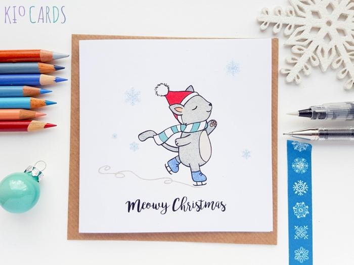 Süße Weihnachtskarte für Kinder, Kätzchen mit Weihnachtsmütze und Schal läuft Schlittschuh