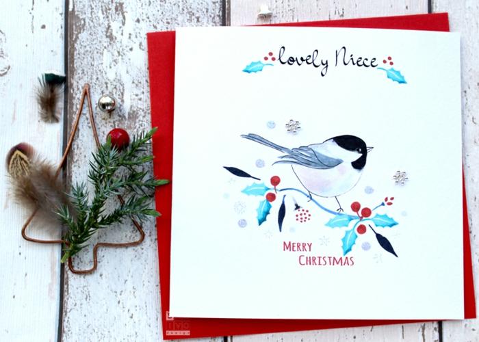 Handgemachte Weihnachtskarte, Süßes Vögelchen und Mistel, Grußkarte für Nichte, frohe Weihnachten