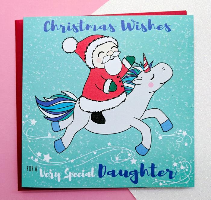 Süße Weihnachtskarte für Kinder, der Weihnachtsmann reitet Einhorn, Grußkarte für Tochter