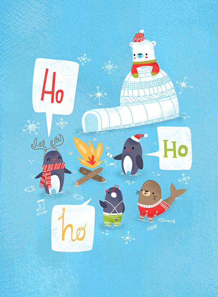Lustige Weihnachtskarte, Weihnachten am Südpol, per Hand gezeichnet, Grußkarten für Kinder