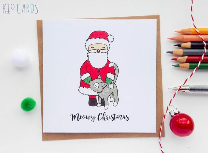 Süße Weihnachtskarten für Kinder, der Weihnachtsmann mit kleinem Kätzchen, per Hand gezeichnet