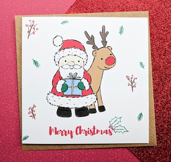 Per Hand gezeichnete Weihnachtskarte, der Weihnachtsmann und Rudolph, frohe Weihnachten