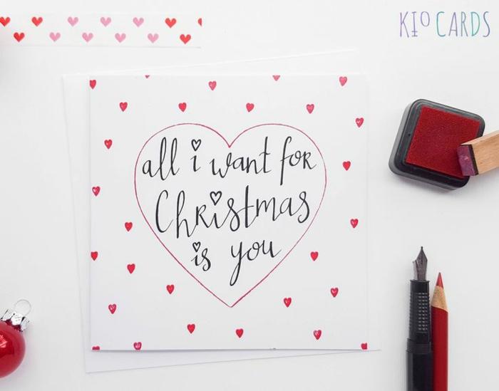 Romantische Weihnachtskarte, Alles, was ich mir zu Weihnachten wünsche, bist du, rote Herzen