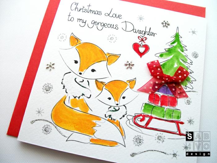 Süße Weihnachtskarte mit Füchsen für Tochter, mit Perlen und Dekoband verziert, mit Liebe