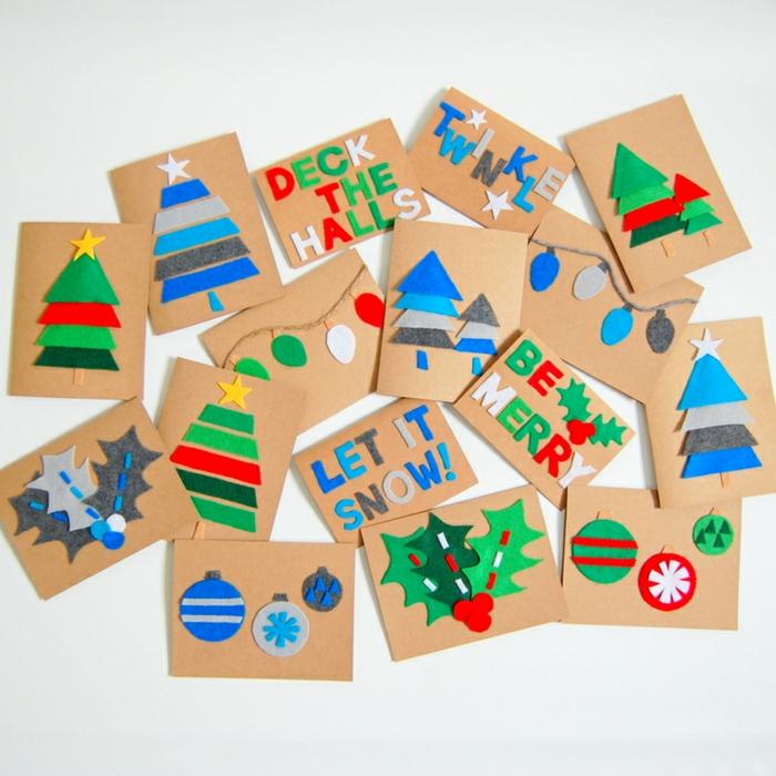 Weihnachtskarten einfnach und schnell selber machen, Christbäumchen, Mistel und Christbaumkugeln aus Filz schneiden