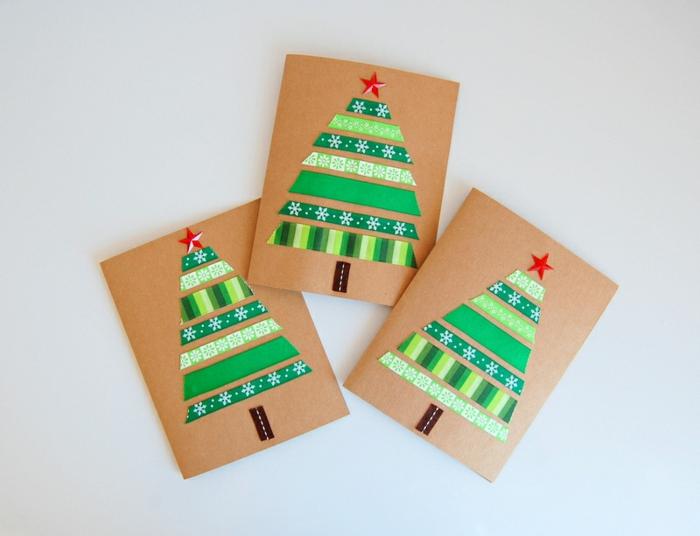 DIY Weihnachtskarten einfach und schnell, Chrstbäumchen aus grünem Dekoband gestalten, aufs Papier kleben