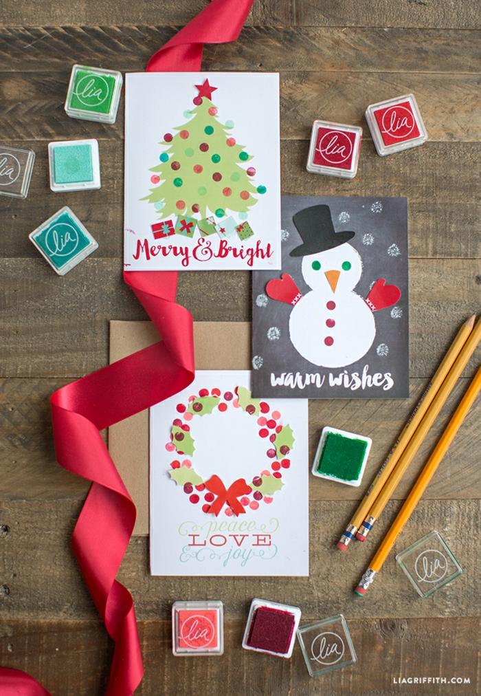 Weihnachtskarten selber machen, Weihnachtsbasteln für Kinder und Erwachsene, Weihnachtskranz, Schneemann und Weihnachtsbaum
