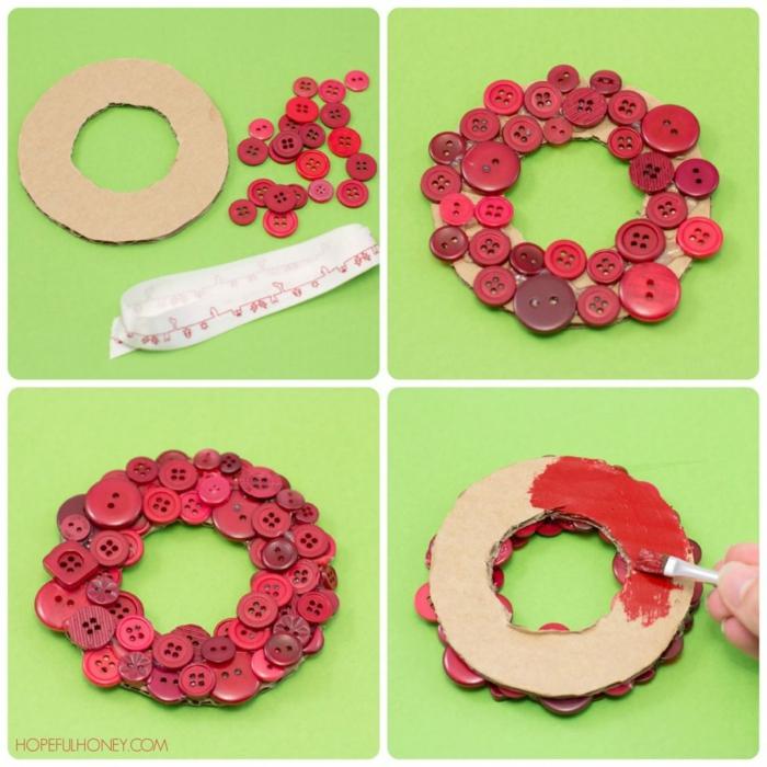Tolle Idee für Weihnachtskarte, Ring aus Pappe ausschneiden und mit roten Knöpfen bekleben, kleiner Weihnachtskranz