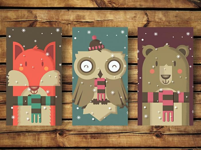 Kreative Weihnachtskarten für Kinder mit Fuchs, Uhu und Bär, kleine Schneeflocken, süße Überraschungen