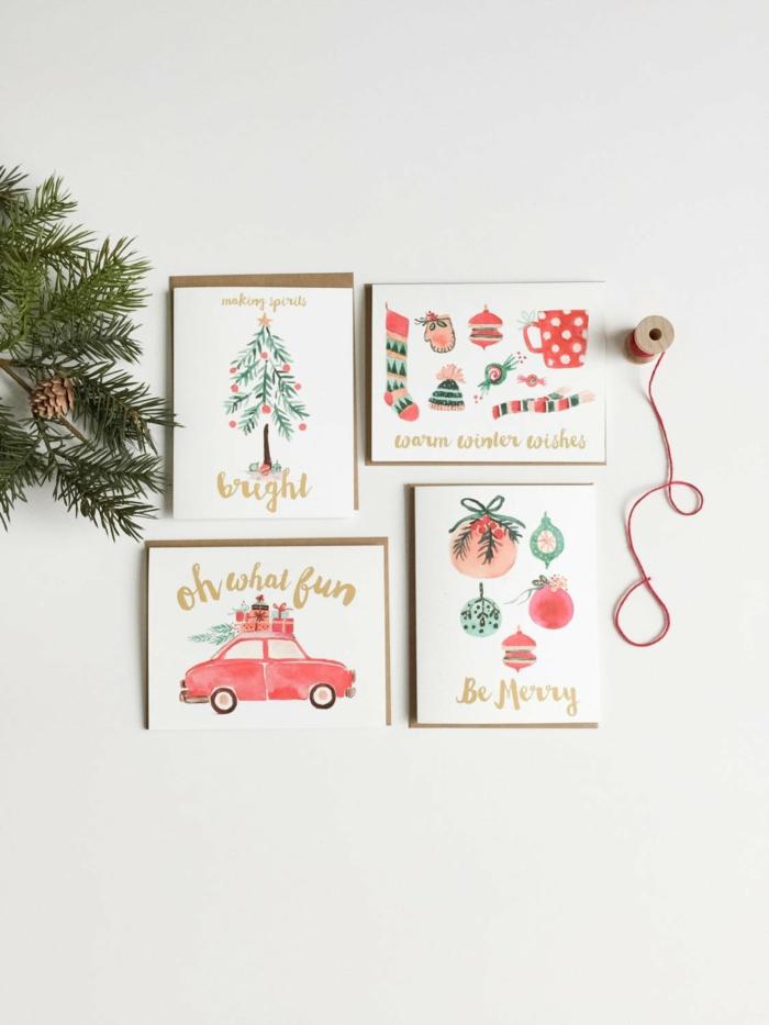 Per Hand gezeichnete Weihnachtskarten und Tannenzweige mit Zapfen, Weihnachtsbasteln für Kinder und Erwachsene