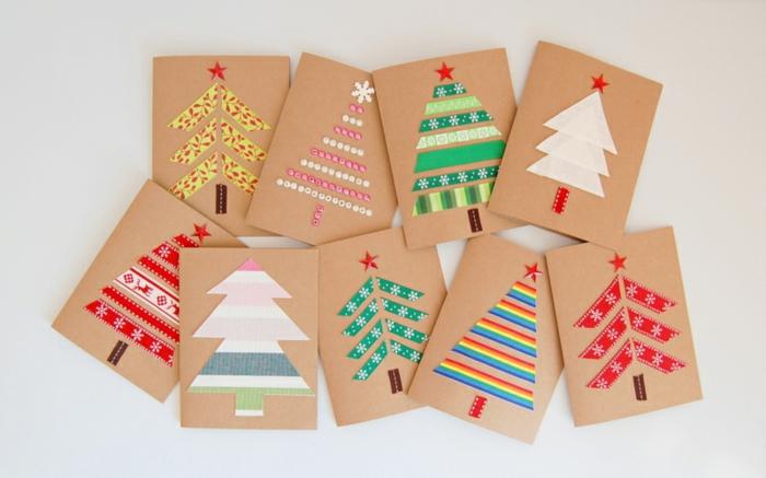 Einfache und schnelle DIY Ideen für Weihnachtskarten, Weihnachtsbäume aus Dekoband oder Perlen gestalten