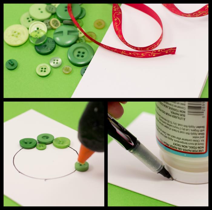 Weihnachtskarte selber basteln, Weihnachtskranz aus grünen Knöpfen und rotem Dekoband