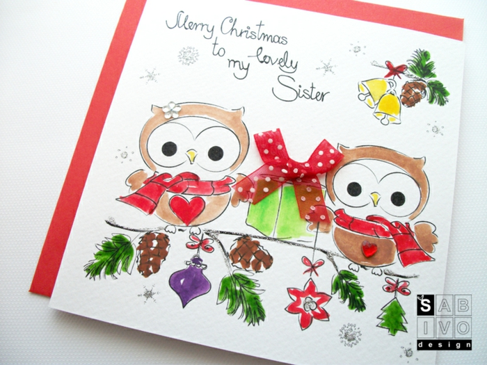 Süße Weihnachtskarte mit zwei Uhus, mit Perlen und Dekoband verziert, Grußkarte für Schwester