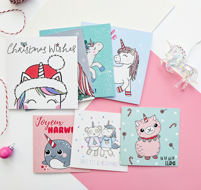 Süße Weihnachtskarten für Kinder per Hand gezeichnet, Weihnachtskarten mit Einhorn und Lama