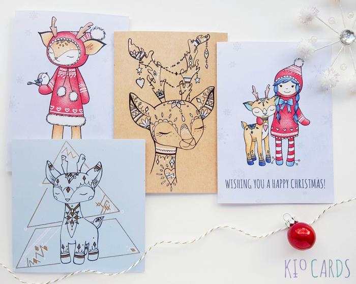 Süße Weihnachtskarten mit Rentieren, Glückwünsche zu Weihnachten, per Hand gezeichnete Grußkarten für Kinder
