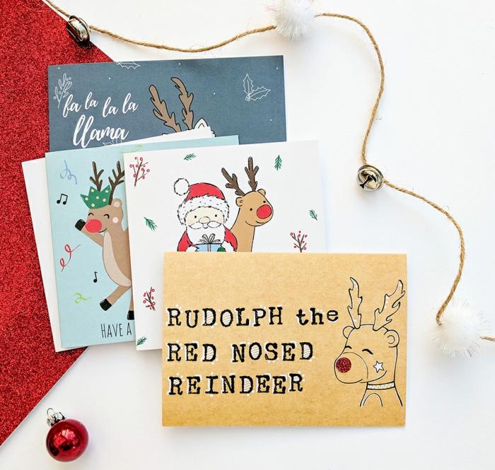 Süße Weihnachtskarten mit dem Weihnachtsmann und Rudolph, kleine Christbaumkugeln